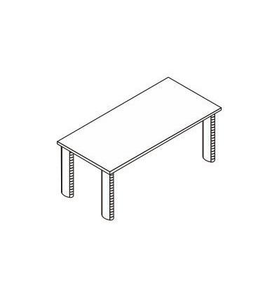 Scrivania rettangolare con gamba in metallo ovale
