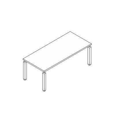Scrivania rettangolare con gamba in metallo quadra