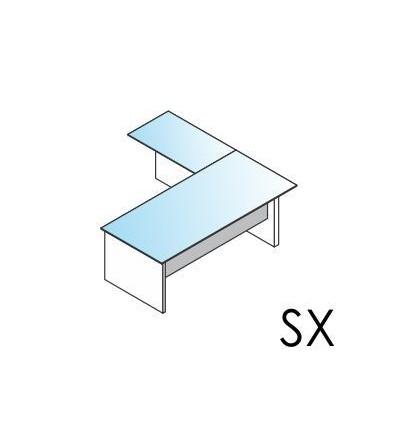 Scrivania con piano in vetro con allungo Dx / Sx con basamento in legno