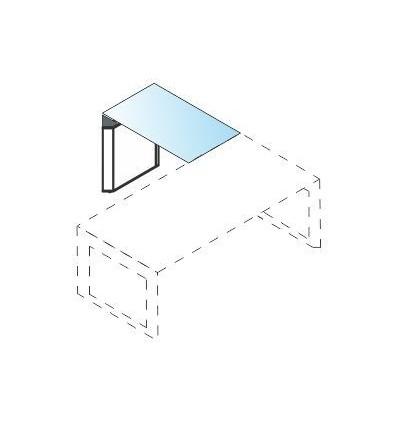 Allungo con piano in vetro e struttura in legno