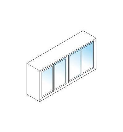 Libreria bassa in taburato con ante in vetro