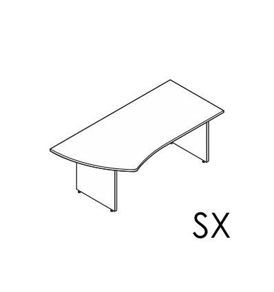Scrivania sagomata Dx - Sx gamba in legno